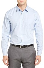 Wrinkle Free Solid Pinpoint Cotton Trim Fit Dress Shirt